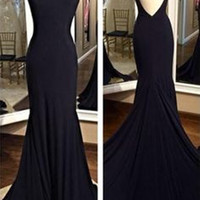 Open Back Sleeveless Mermaid Prom Dresses