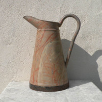 RARE French vintage rustic water pitcher - shabby chic - country home, French farmhouse - pink water pitcher - vintage zinc pitcher