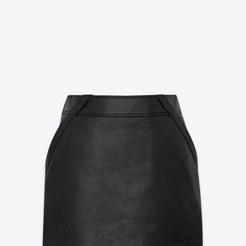 SAINT LAURENT ‎LAMBSKIN SKIRT WITH SIDE POCKETS ‎ | YSL.COM