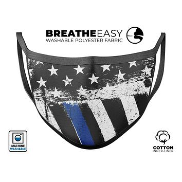 Grunge Patriotic American Flag with Thin Blue Line - Made in USA Mouth Cover Unisex Anti-Dust Cotton Blend Reusable & Washable Face Mask with Adjustable Sizing for Adult or Child