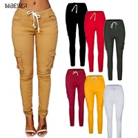 NIBESSER Autumn Ladies Cargo Pants Lace up Women Casual Pencil Pants Female High Waist Pant Multi-Pocket Joggers Sweatpants