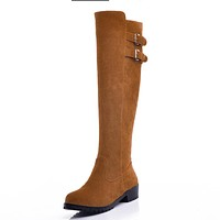 Buckle Suede Tall Boots Winter Shoes for Woman 9675
