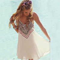 2016 Boho Sexy Women Sleeveless Party Summer Beach Short Mini Dress