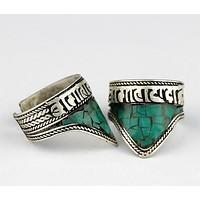 Tibetan Six Words Mantras Turquoise Triangle Amulet Ring