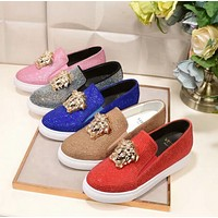 Versace Fashion new more diamond couple shoes flat white shoes round head casual heighten shoes five color