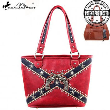 Montana West Rebel Flag Six Shooter Conceal Carry Totebag