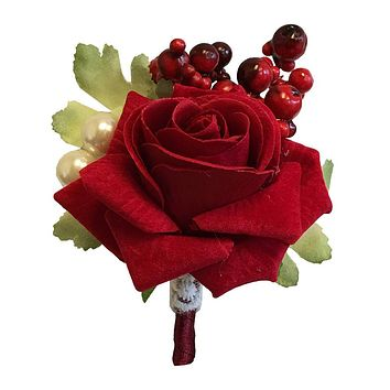 Designer's Pick - Red Rose with Berries, Pearl and lace accents -Winter Boutonniere