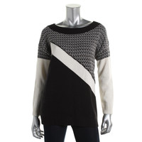 Heather B Womens Knit Ribbed Trim Pullover Sweater