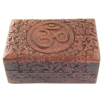 Carved Wooden Box With Om Symbol (Set of 3 Boxes)