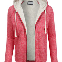 LE3NO Womens Sherpa Lined Fleece Hoodie Jacket with Pockets
