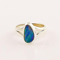 Australian Fire Opal Sterling Silver Ring