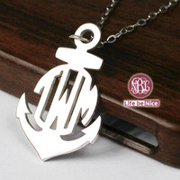 Hope anchor monogram necklace --1.25 inch monogram or customized  925 sterling silver