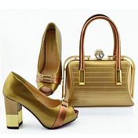 New Women Matching Shoes And Bag Set Decorated With Rhinestone Design