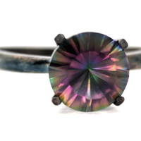 4 prong Solitaire with 8mm Rainbow Quartz in Blackened Sterling Silver