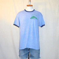 Vintage Burnout 70s DISTRESSED RINGER Summit Lake Graphic Heather Blue Paper Thin Buttery Soft Faded Hanes Large Poly Cotton T-SHIRT