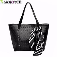 AC 2017 Hot PU Leather Women Skull Bag Female Solid Punk Shoulder Bag Fashion Soft Women Handbags Black Large Ladies Tote Bag
