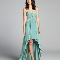 Mignon mint green embellished spaghetti strap high-low jersey knit gown   BLUEFLY up to 70 off designer brands
