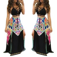 New Hot Crop top and Skirt Set 2016 Woman Sexy Lace-up Deep V-neck Halter Tops and High-slit Long Skirt Two Piece Set