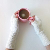 Hand Knit Fingerless Gloves in Ivory, Arm Warmers, Womens Seamless Knit Gloves, Winter Fashion