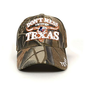 Dont Mess With Texas Camo 3D Embroidered Baseball Cap, Hat