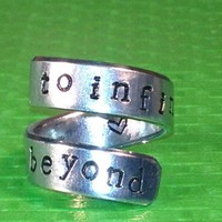 To Infinity and Beyond - Adjustable Ring - Handstamped Style B