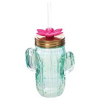 Cactus Glass Mason Jar Sipper with Straw   Bulk Discount - Buy 2+ and Save, No Code Needed