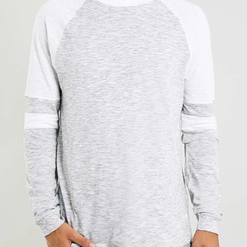 Grey Striped Sleeve Long Sleeve T-Shirt - New This Week - New In