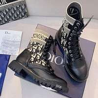 Dior new D letter embroidery knight boots pearl front lace-up women's boots Shoes