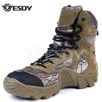 Real Leather Esdy Brand Designer Men Military Tactical Boots For Men's Outdoor Hunting Desert Black Motorcycle Army Combat Shoes