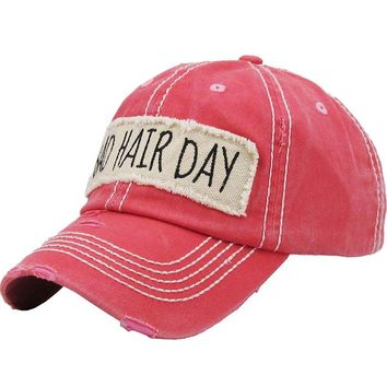 """Coral Red """"Bad Hair Day"""" Patch Baseball Cap"""
