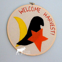 Primitive Fall Hoop Art - PrimitiveCrow, Star, Moon Hand stitched/ Hand painted Welcome Harvest! 10 in hoop art on unbleached muslin