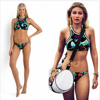 Printing High Neck Bikinis Set Triangle Bathing suits  Swimwear