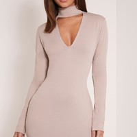 Arianna Taupe Crepe Neck Detail Bodycon Dress - Dresses - PrettylittleThing   PrettyLittleThing.com