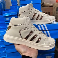 Adidas men's and women's high-top shell-toe sneakers shoes