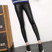 Popular Clubbing Party Night Women Imitation Leather Ankle-length Slim Fit High Waisted Pants Leggings b4069