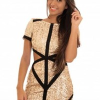 Gold Sequin Short Sleeve Dress with Cutout Side Detail