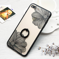 For Apple iphone 7 7 Plus Phone Cases Floral Daisy Painting Flower Case Elegant Style Transparent Cover With Ring holder Stand