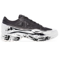 "Silver Metallic and Black Color Block ""Ozweego"" Sneakers by RAF SIMONS"