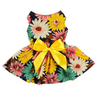Pet Elegant Floral Ribbon Dog Dress Shirt Vest Sundress Clothes Apparel [4905491588]