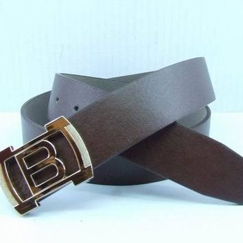 Cheap Boss woman's and men's leather smooth buckle belt belt sale-843368361