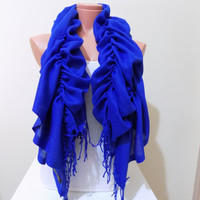 Ruffle Pashmina scarf,Ruffle scarf,ruffle pashmina scarf in royal Blue, Blue scarf,Ruffled scarf Frilly scarf Women scarfs Bridesmaid Gifts