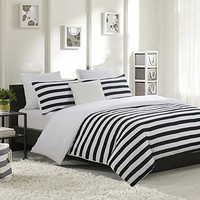 NTBAY Black and White Stripe Printing Microfiber Reversible 3 Pieces Full/Queen Size Duvet Cover Set with Hidden Button (Full/Queen, Striped)