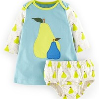 Infant Girl's Mini Boden Applique Jersey Dress & Bloomers