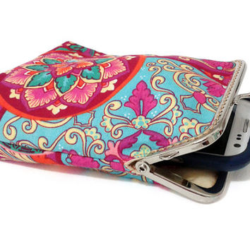 Fabric Smartphone Case / Cigarette Case with pocket inside - Turquoise with Red and Hot Pink 100% cotton - Silver Frame