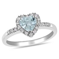 6.0mm Heart-Shaped Aquamarine and 1/10 CT. T.W. Diamond Frame Ring in Sterling Silver