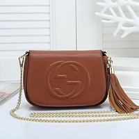 GUCCI tide brand female models wild tassel single shoulder diagonal mobile handbag Brown