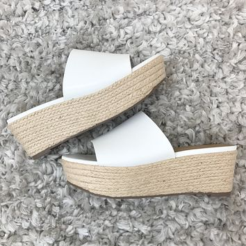 Strauss White Two Tone Wedge Sandals