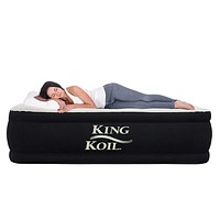 King Koil Twin Air Mattress with Built-in Pump - Double High Elevated Raised Airbed for Guests with Comfortable Top ONLY Bed with 1-Year Manufacturer Guarantee Included Black