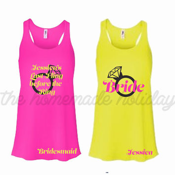 Last fling before the ring tank tops, Personalized Bride and Bridesmaids Bachelorette Party Tank tops, Wedding tank tops