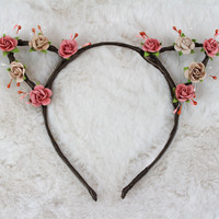 Rose Taupe Cat Ears Headband